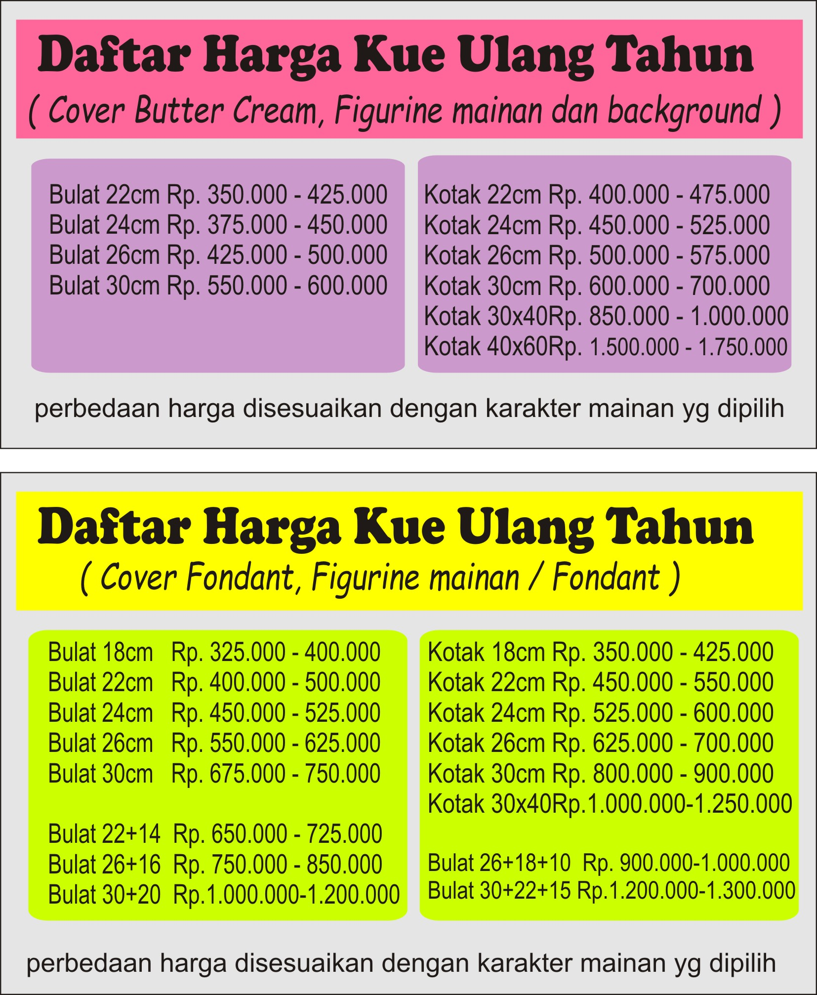 Harga Cake Birthday Bandung Kue Ulang Tahun Bandung