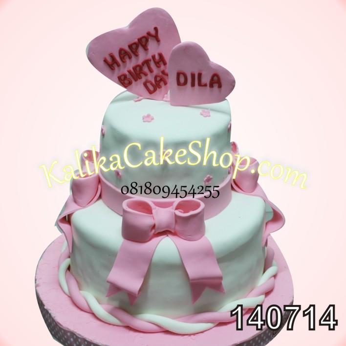 Kue Ulang Tahun Susun 2 Pita Pink
