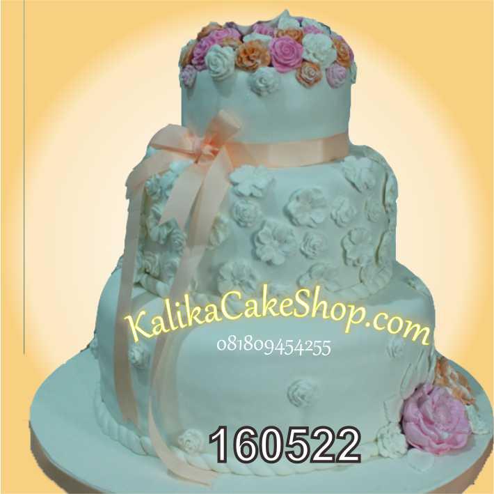 wedding cake 3 susun white flower