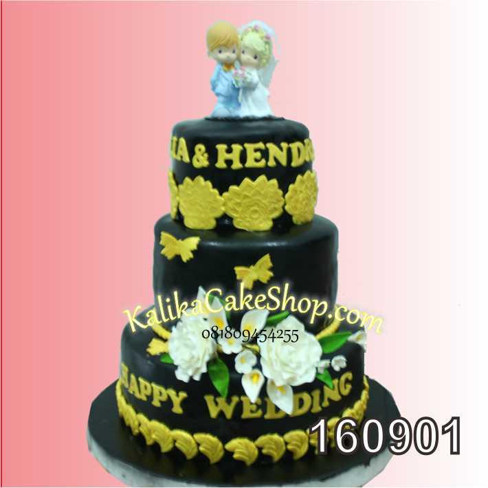 cake Wedding black Gold