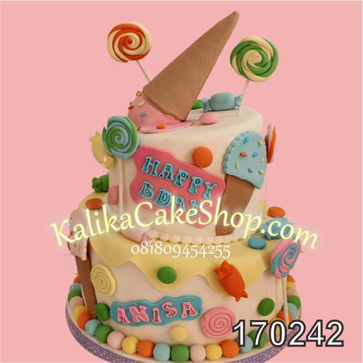 Cake ulang tahun Candyland 2 susun