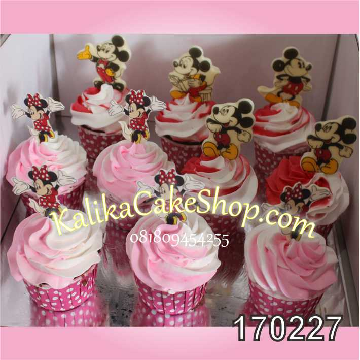 Cup cake ulang tahun minnie mousse
